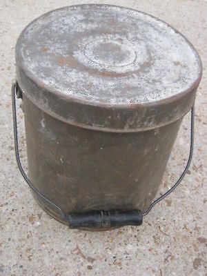 Antique ?? Vintage Primitive Rustic Rusty Metal Bucket with Lid wood handle
