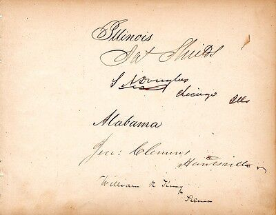 Stephen Douglas, Lincoln debates, signed autograph page, plus V.P. William King