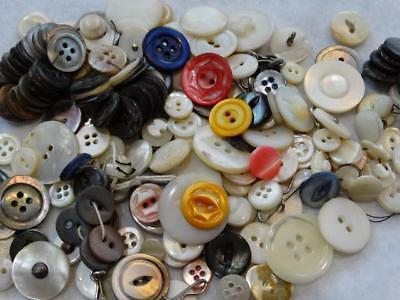 LARGE LOT ANTIQUE & VINTAGE MOTHER OF PEARL & SHELL BUTTONS Carved Dyed +