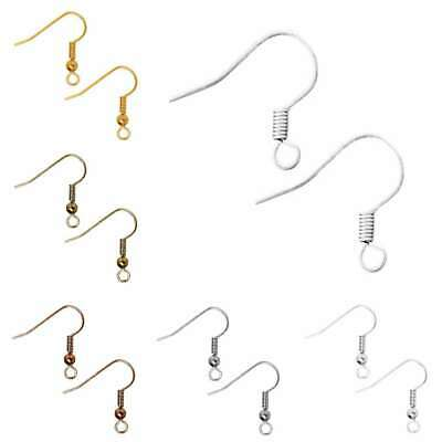 30g 140pcs Ear Wire Hook Coil Earring 18mm Jewelry Makings Findings Sliver/Gold
