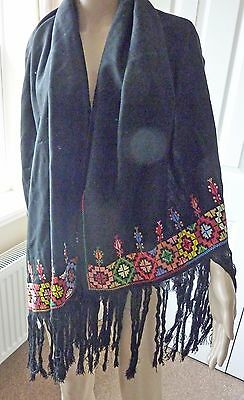Vintage Stole or Shawl, Bead with brightly coloured X-Stitch design & Fringing