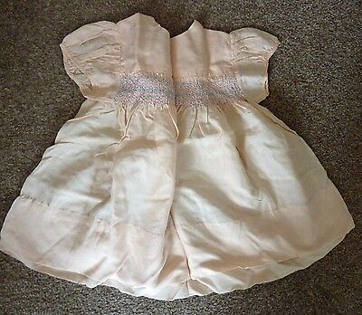 Vintage Child's Dress, Peach, Smocked, 1950's