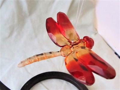 Dragonfly Ganz Crystal Expressions Acrylic Sun Catcher Orange Red Free Ship