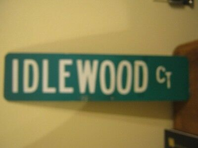 "Vintage ?  Aluminum Retired Street Sign Idlewood Ct 6"" x 24"""