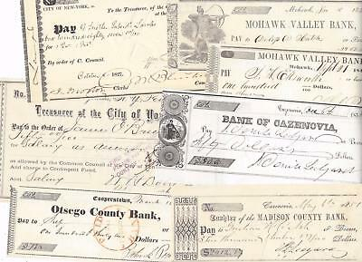 1827-1887 Nine Ny Checks W/notable Signatures Mayors Cazenovia Cooperstown Etc