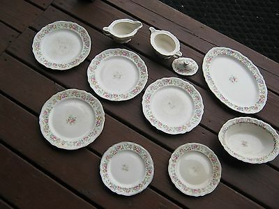11 Pc The Edwin Knowles China Made In USA Plates Bowls Platter Plates gravy Bowl