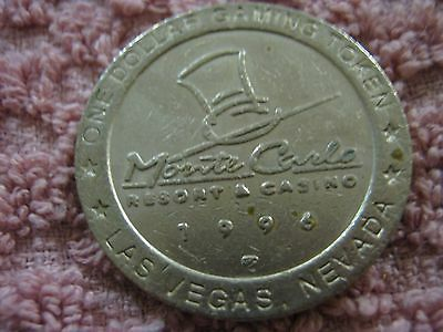 Vintage Monte Carlo Resort Casino 1996 Las Vegas NV Gaming Token One Dollar Coin
