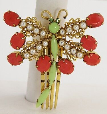 VINTAGE HAIR CLIP Jewelry SIGNED SCHREINER NEW YORK NY RHINESTONE DRAGONFLY RARE