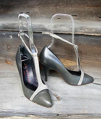 Vtg 1980's Gray Ankle Strap High Heels by J. B. Martin, Paris * Size 6.5B