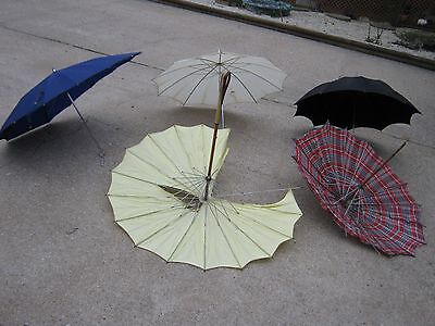 5 pc Vintage Assorted Umbrella Parasol good for decor and parts