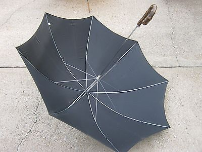 Vintage Used Black Umbrella Parasol 100 % Nylon Taiwan good for decor