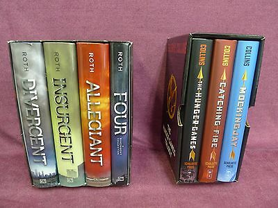 Lot of 2 Book Box Sets - The Hunger Games + The Divergent Series - Used