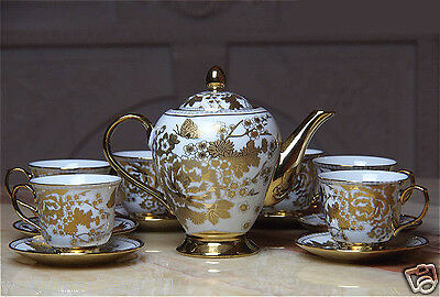 """7 Pieces"" European Style High-Grade Bone Porcelain Golden Coffee Tea Set Teaset"