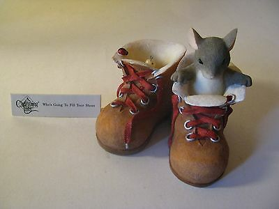 Charming Tail Who's Going To Fill Your Shoes Mouse Snail Boots Figurine
