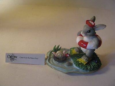 Charming Tail Come On In The Water's Fine Rabbit Snail Pond Figurine