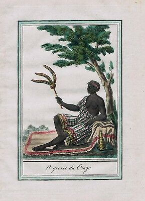 1780 - Kingdom Congo West Africa Negro costume engraving antique print