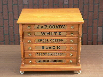 Refinished Antique 6 Drawer J & P COATS Sewing Thread Spool Cotton Cabinet chest