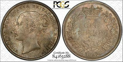 1852 Great Britain 1 Shilling PCGS MS65 Lot#G312 Silver! Exceptional Toning!