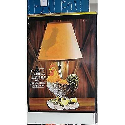"""11"""" HAND PAINTED ROOSTER AND CHICKS ACCENT LAMP WITH SILHOUETTE SHADE New"""