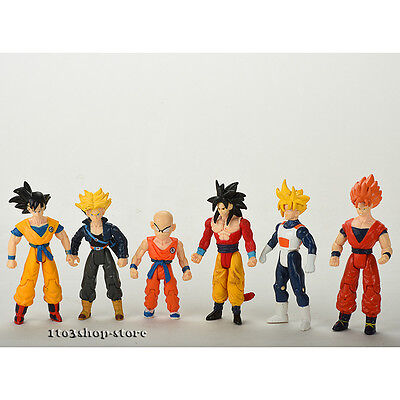 Dragon Ball Z Super Saiyan 5 Trunks Goku Gohan Kuririn Toy Figure Figurine 6 pcs