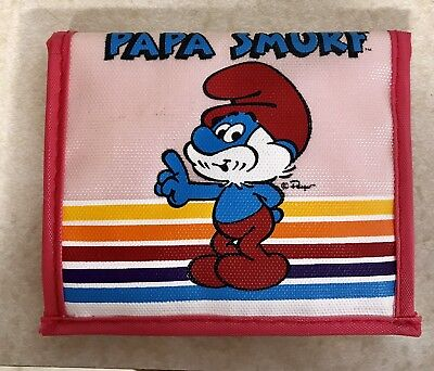 80's PAPA SMURF Wallet Pink Rainbow Velcro fashion accessories vintage clothes