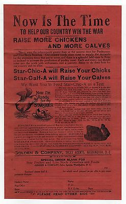 1917 POULTRY DAIRY BROADSIDE Chicken EGGS Butter DAIRY Golden WASHINGTON DC WWI