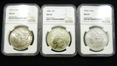 1879-S 1886 1904-O Morgan Dollars - NGC MS 64 - $1 Silver Certified & Graded