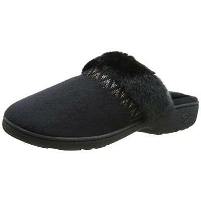 Isotoner 5702 Womens Hazel Black Microsuede Clog Slippers Shoes M 7.5-8 BHFO