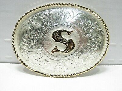 """Vtg Montana Silversmiths Etched """"S"""" Monogram Two Tone Oval Belt Buckle B16#4"""