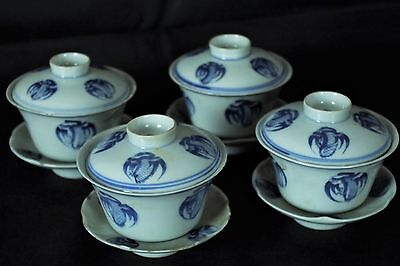 Beautiful Set of 4 Antique Chinese Blue & White Handpainted Teacups - with marks