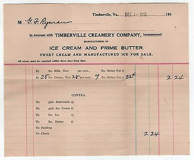 1913 TIMBERVILLE VIRGINIA Creamery Company BILLHEAD Dairy ICE CREAM Butter SWEET
