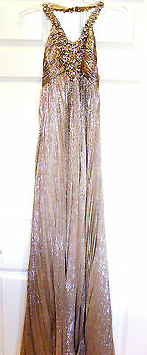 Jovani Beaded Sequined Jewel Bling Halter Full Length Prom Formal Dress  Sz 0