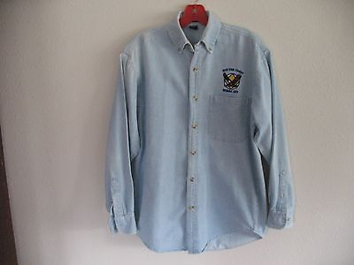 """Narcotics Anonymous Blue Denim Shirt - Long Sleeve - """"JUST FOR TODAY"""" - Size S"""