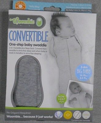 New WOOMBIE Convertible Big Baby Swaddle 3-6M Non-Vent Twilight Heathered Grey