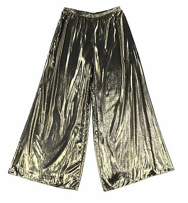 MSK NEW Gold Women's Size Large L Pull-On Wide Leg Metallic Pants $69 #028