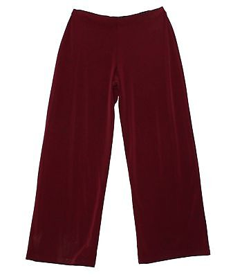 Alfani NEW Solid Maroon Red Women's Size XL Wide-Leg Pull On Pants $59 #326
