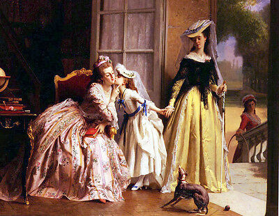 Hand painted Oil painting Caraud Joseph Queen Marie Antoinette And Her Daughter