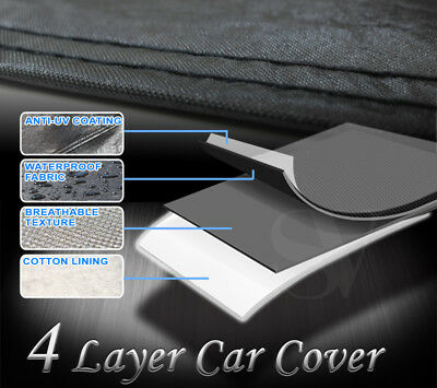 Fit Chevrolet UV/Sun/Snow/Black Shield 4-Layer Rain Protect Car Cover 190x70x47