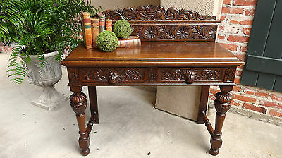 Antique English Tiger Oak Carved Foyer Sofa TABLE Renaissance Sideboard Gothic
