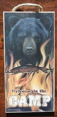 WELCOME TO THE CAMP Black Bear Fishing Campfire Cabin Lodge Home Decor Sign NEW