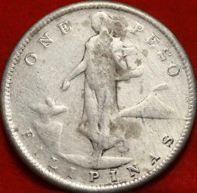 1908-S Philippines One Peso Silver Foreign Coin Free S/H