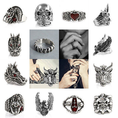 Fashion Men's Stainless Steel Silver Biker Finger Rings Cool Gothic Punk Jewelry
