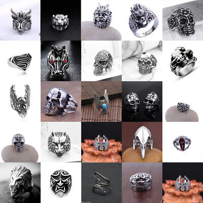 Men's Stainless Steel Silver Vintage Cool Punk Gothic Biker Finger Rings Jewelry