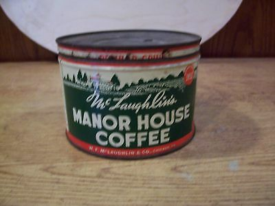 McLaughlin's Manor House 1 Pound Coffee Tin with Lid