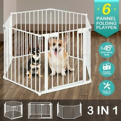 6 Panel 3in1 Metal Kids Safety Gate Baby Pet Dog Playpen Divider Double Locking