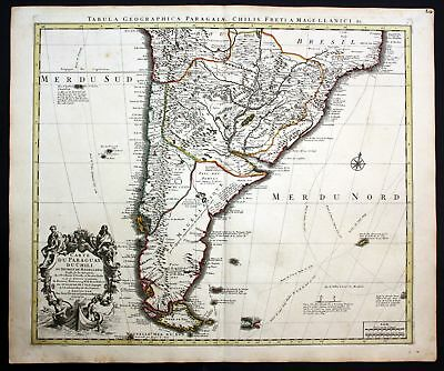 ca. 1730 Paraguay Chile South America map Karte Covens Mortier engraving