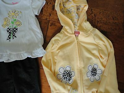 Nannette Girls 3 Piece Outfit Daisy Top Denim Pants Yellow Hooded Jacket Size 4