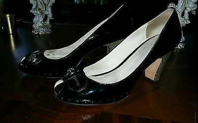 Women's Coach size 10 black patent leather peep toes
