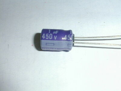 Capacitor Electrolytic RE2-450V010M 1uF 450Volt 85c 8X12mm Radial lead 21 Pieces