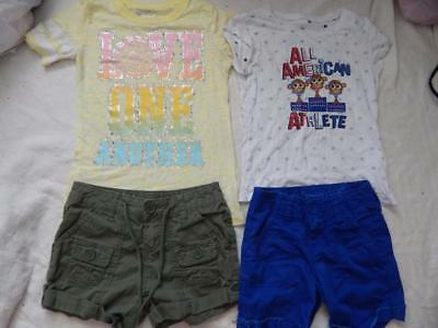 JUSTICE Girls 4 Piece Lot 2 Complete Outfits Graphic Top and Shorts Size 7
